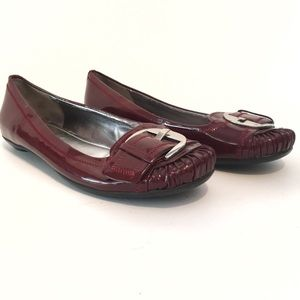 Marc Fisher Calise Oxblood Red Leather Loafers